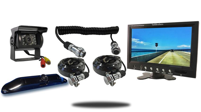 Wired two camera Quick Disconnect fifth wheel system one rv backup camera one ccd license plate camera and 10.5 inch color monitor