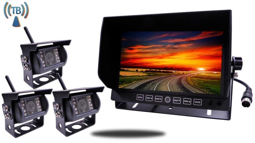 3 Built In Wireless Trailer and RV Backup Cameras   7 Inch split screen Monitor SKU-12771