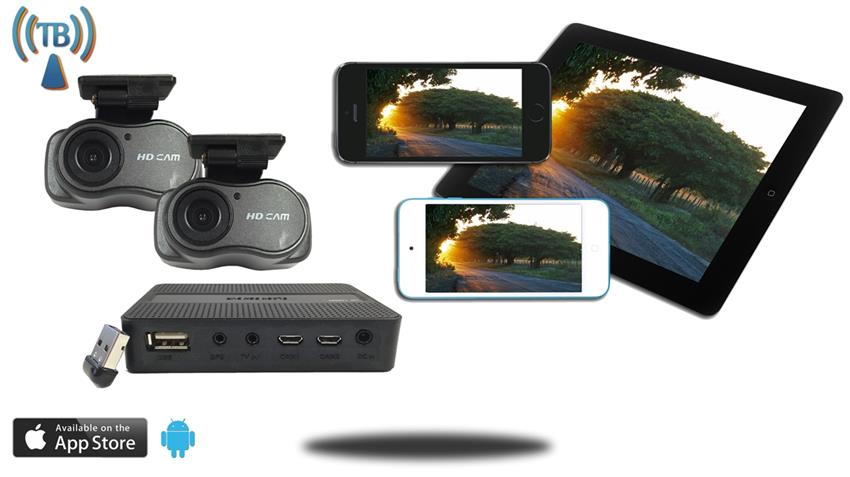 Dash cam with WiFi DVR with Mini HD dual cameras and App