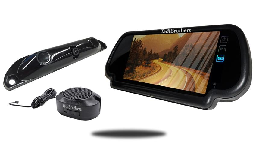 Bluetooth color 7 inch mirror monitor with license plate camera and parking sensor bar