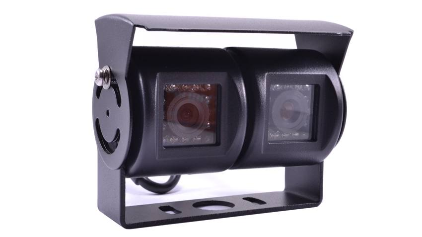 The double RV backup camera has hi-res CCD lenses and individually adjustable cameras in a rugged weatherproof housing. SKU52316