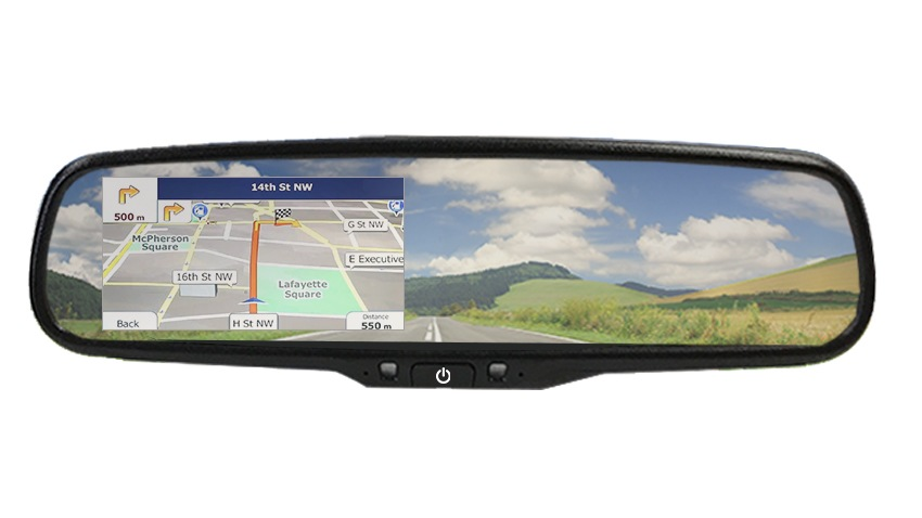 Rear View Car Mirror Monitor with GPS Navigation System