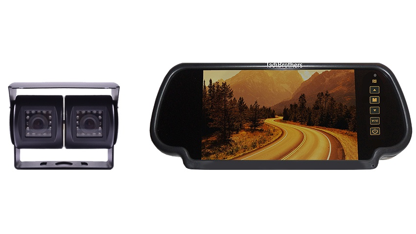 Wired double mounted RV backup camera with 7 Inch LCD mirror monitor