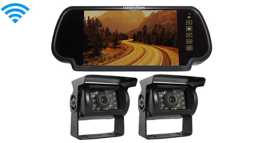 7 Inch Mirror with 2 Wireless 120 Degree RV Backup Cameras Great for RV's Trucks and Trailers!