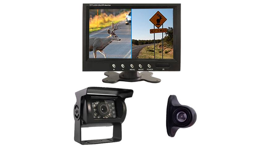 7 inch split screen monitor for up to 4 cameras with wired side camera and rv backup camera
