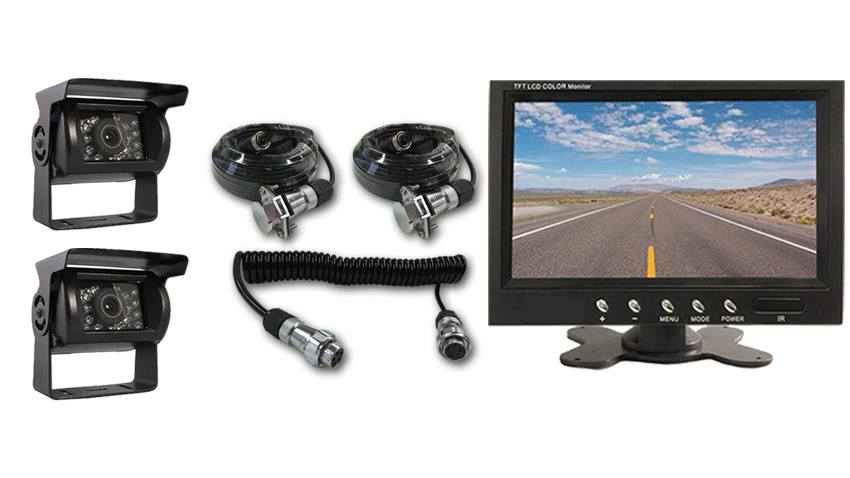 5th Wheel Quick Disconnect Rear View System with 2 RV Backup Cameras and Monitor