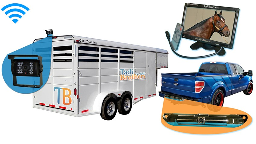 2 Cameras backup system for horse trailer and Pickup truck|7-inch monitor|SKU-82480