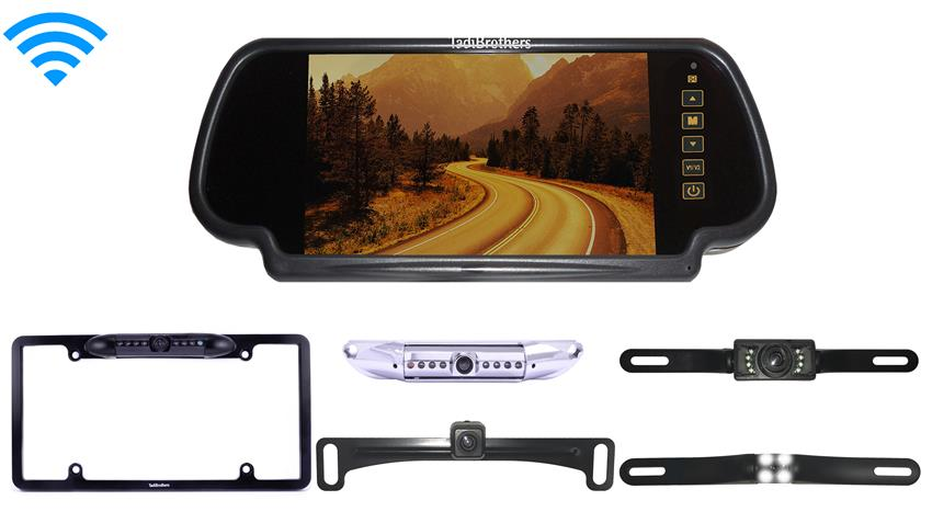 Wireless License Plate Backup Camera | Mirror Monitor | SKU33633