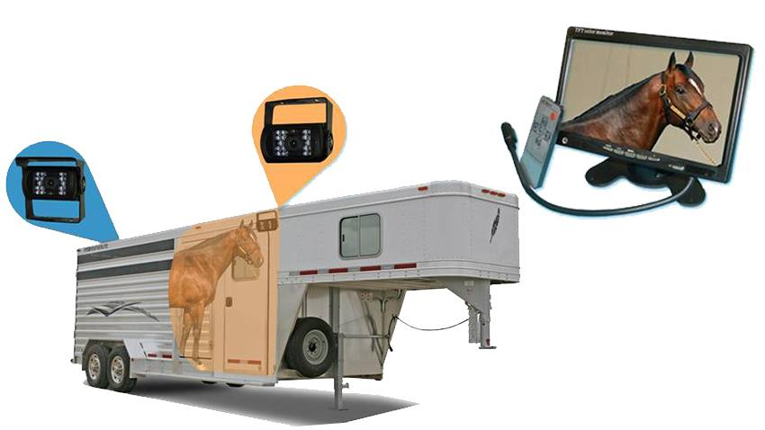 Horse Trailer Rear View System with 2 Backup Cameras and Monitor