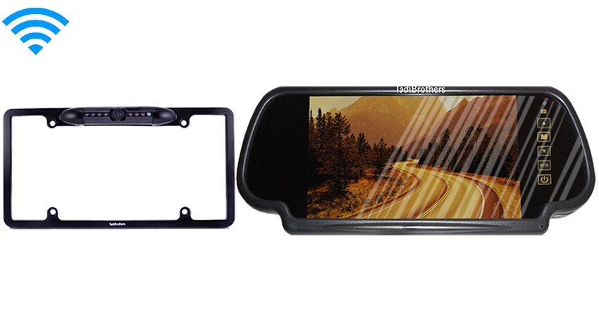 Wireless License Plate Frame Backup Camera & Mirror Monitor