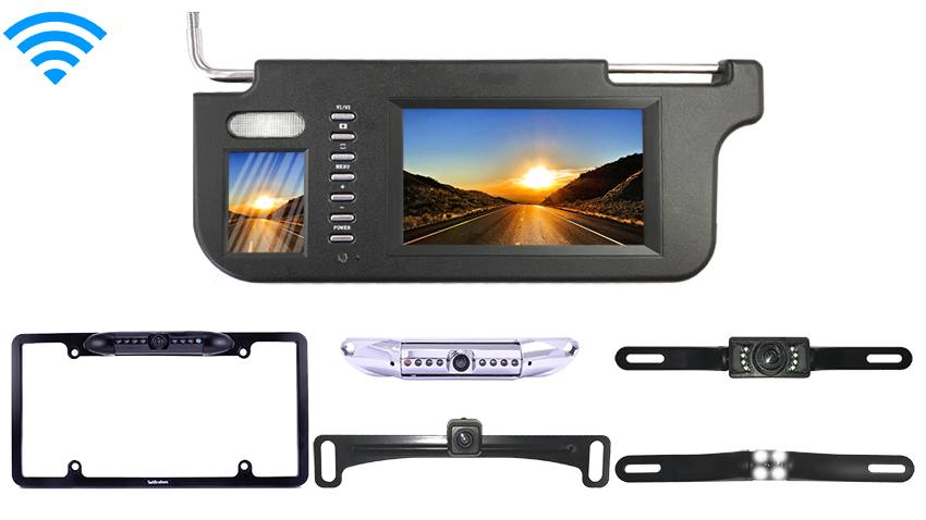 Wireless License Plate Backup Camera with Visor Monitor | SKU-70375