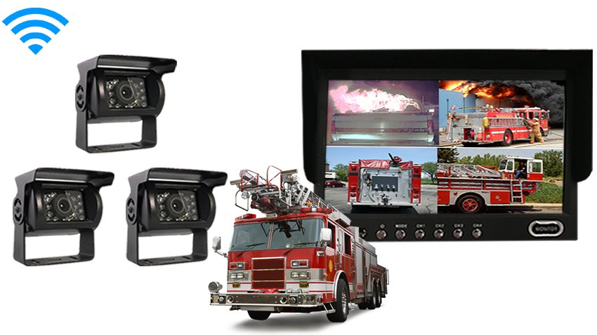 fire truck rear view system 3 wireless backup cameras and monitor rh tadibrothers com Fire Engine Pump Panel Controls Parts Fire Alarm Pull Station Wiring Diagram