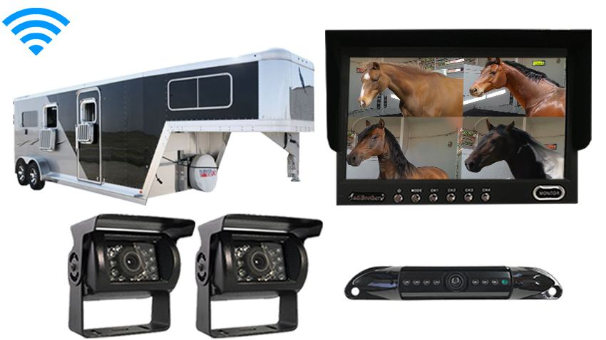 7 Inch Horse Trailer 3 Camera Wireless System with Two 120° Birds Eye View and 1 Rear Truck Camera