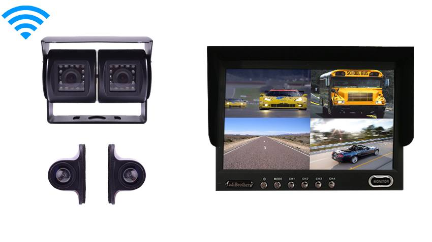 Wireless RV Backup System with a Dual Rear Camera 2 side