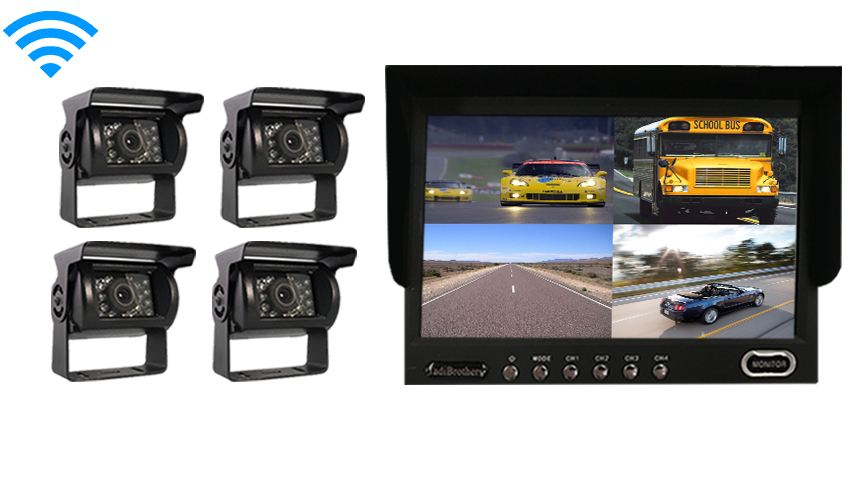 Four camera Ultimate rv backup camera system with double ccd rv camera and two side cameras