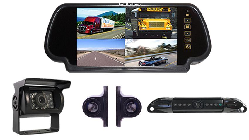7-Inch split screen Mirror monitor with License Plate camera, box camera and 2 Side Cameras