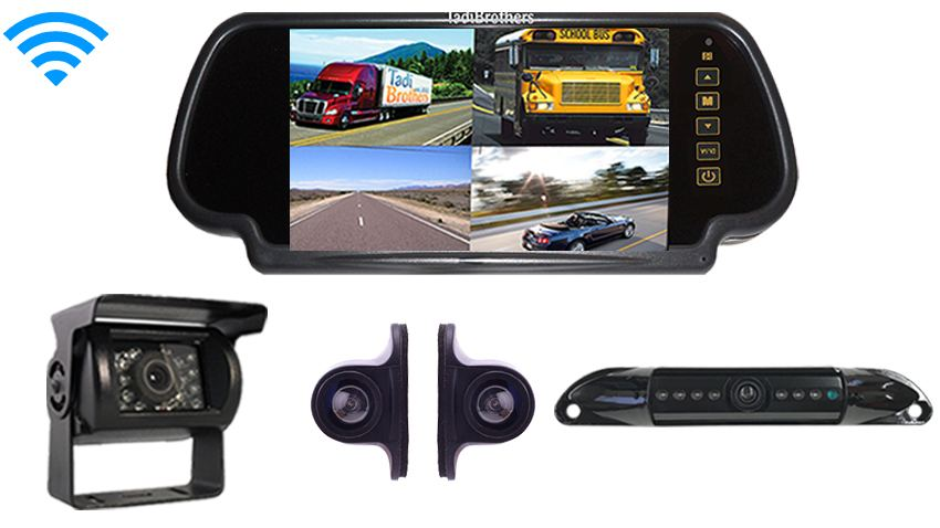 Wireless Rear View System With 4 Cameras And Backup Mirror