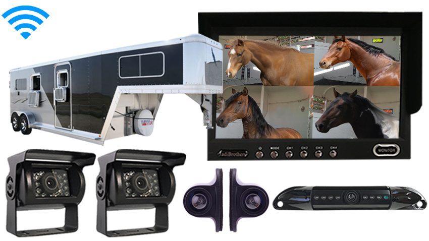 7 Inch Horse Trailer 5 Camera Rear View Wireless System with 4 Trailer and 1 Truck Camera