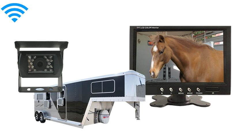 Horse trailer wireless back up camera with 7 inch monitor