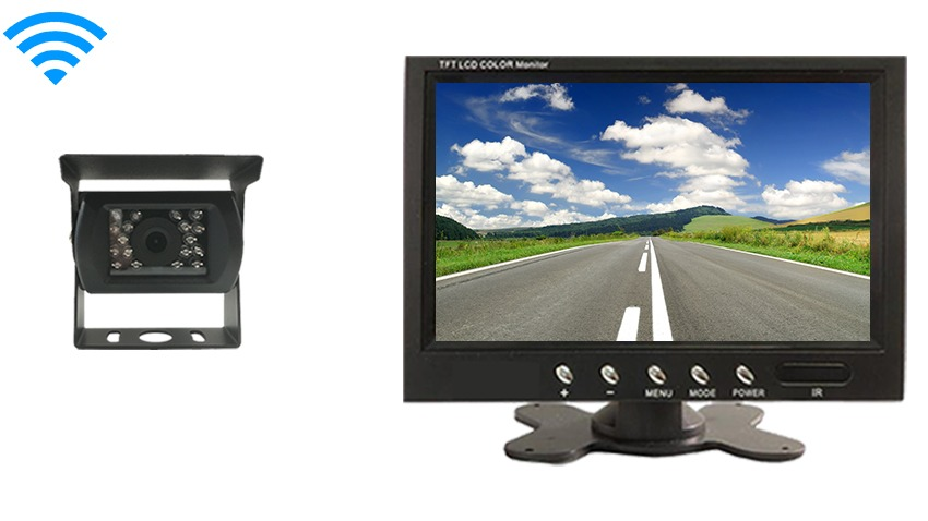 Wireless Rv Backup Camera With A Large Rear View Monitor