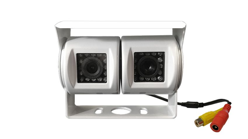 Front view of the white dual backup camera for RVs, campers, 5th wheels/trailers, or any other vehicle with a trailer hitch. SKU52317