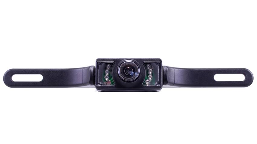 The 120 degree front facing license plate camera mounts on your front plate for a clear view of the road ahead.