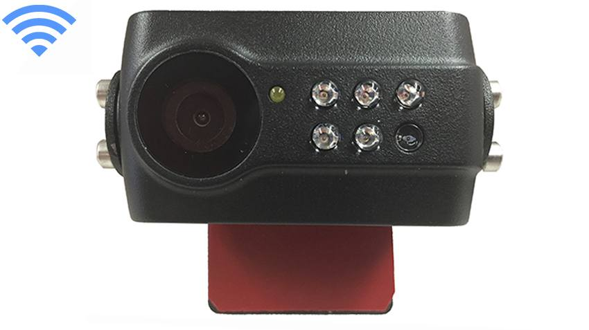 Closeup of the 120 degree built-in wireless slip-on backup camera, showing lens, night-vision LEDs, and light sensor.