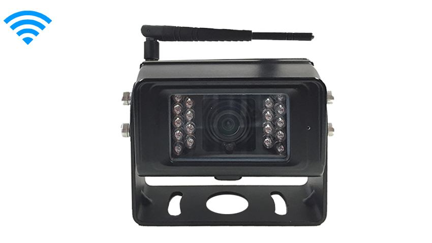 The HD digital wireless RV backup camera has a maximum broadcast range of 120 feet.