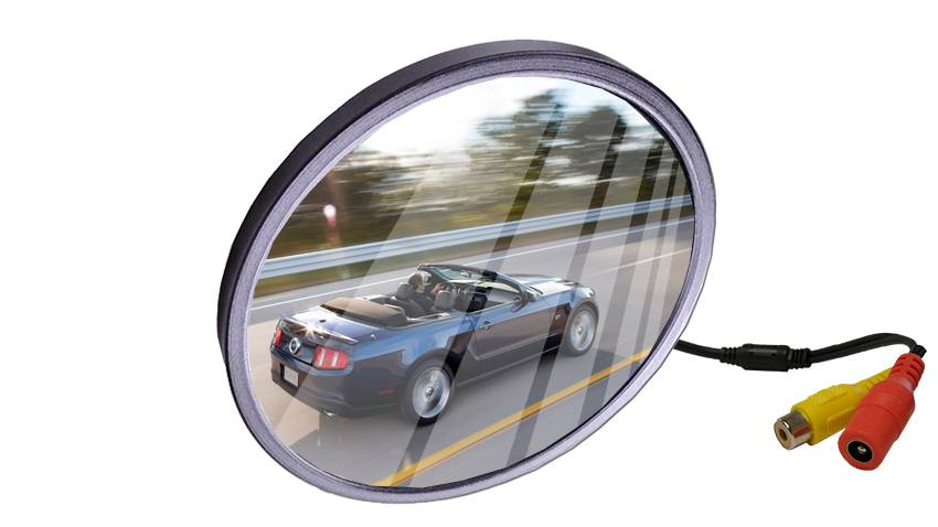 The mirror reflection backup camera looks like a standard circular mirror, but hidden inside is a night-vision equipped CMOS lens.