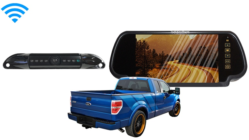 wireless license plate backup camera for trucks with mirror. Black Bedroom Furniture Sets. Home Design Ideas