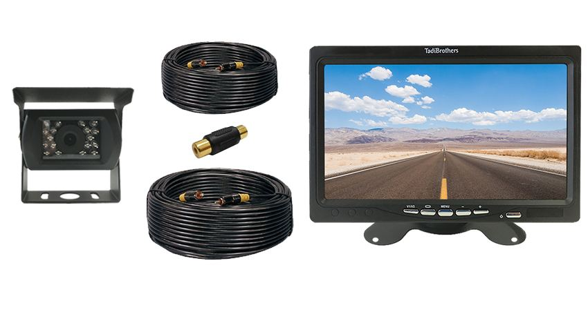 Wired 7 inch fifth wheel backup camera system with rv backup camera
