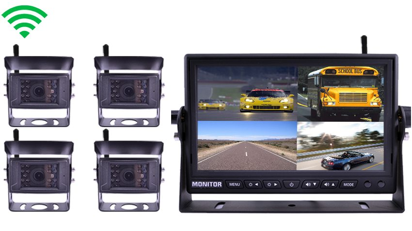 4 Digital Wireless Backup Cameras|split screen Monitor|SKU12770