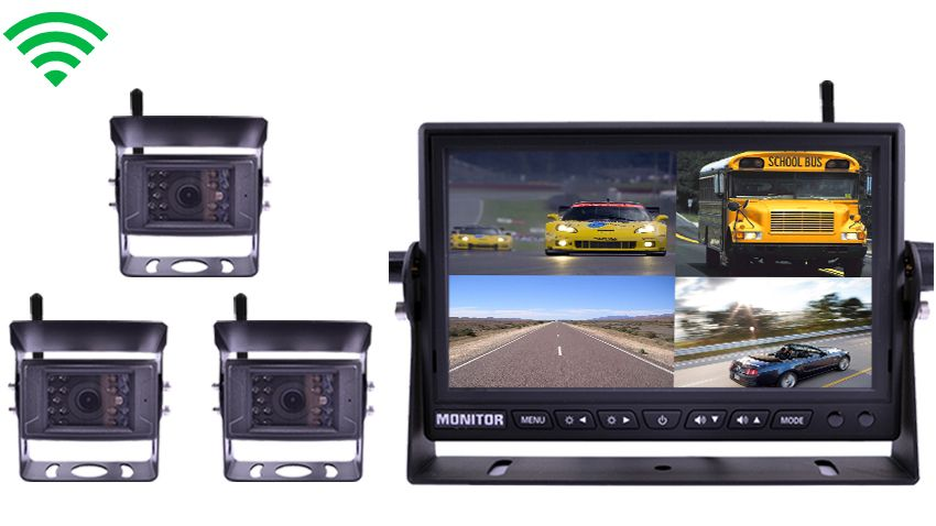3 Built In Wireless Trailer and RV Backup Cameras | 7 Inch split screen Monitor
