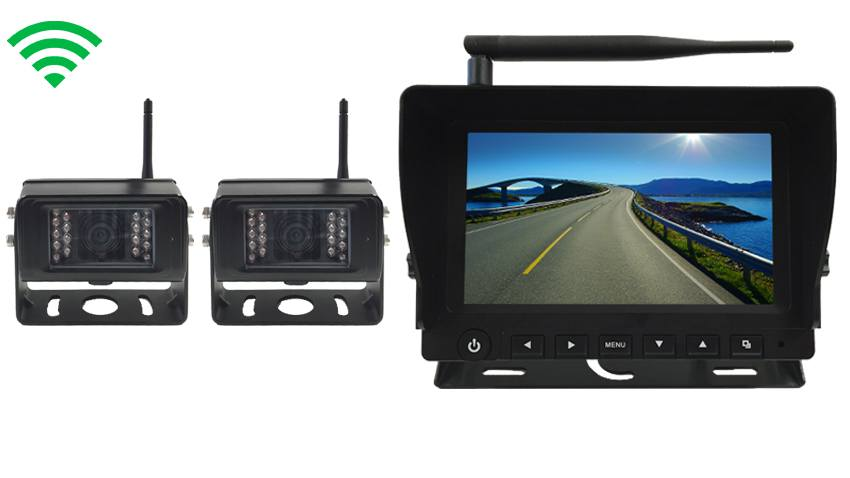 5th Wheel Rearview System With 2 Digital Wireless Backup Cameras And