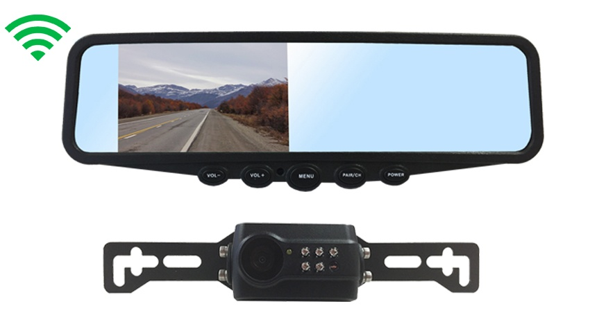 4.3-Inch Mirror Monitor|Digital Wireless License Plate Backup Camera SKU-76599