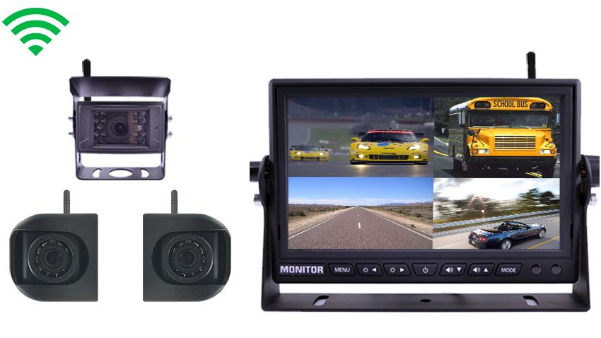 3 Built In Wireless Trailer and RV Backup Cameras and Side Cameras | 7 Inch split screen Monitor