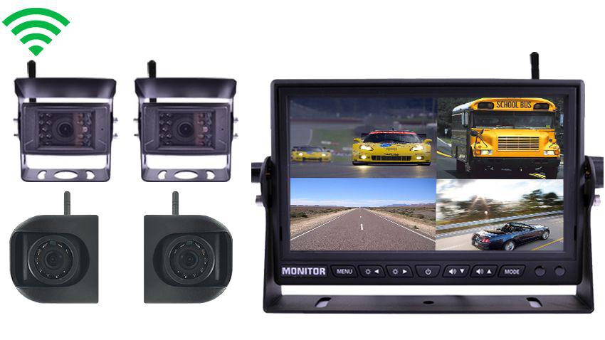 4 Built In Wireless Trailer and RV Backup Cameras and Side Cameras | 7 Inch split screen Monitor