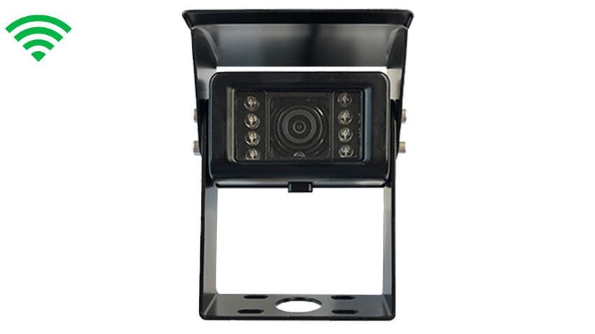 The HD digital wireless RV backup camera has a maximum broadcast range of 150 feet.