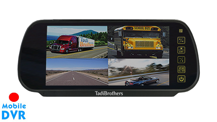 7-Inch Split Screen Mirror with built in DVR for up to 4 Backup Cameras   SKU48525