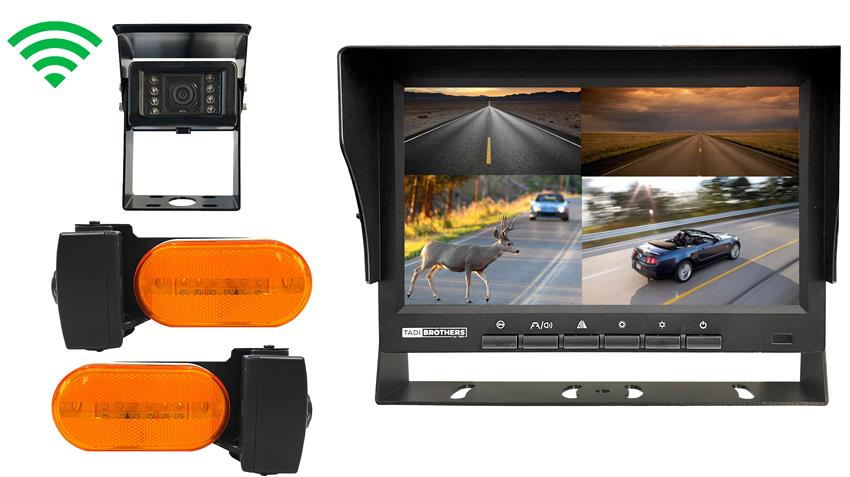 3 Digital Wireless RV Backup Cameras with 2 marker light Side Cameras. This bundle also includes a 7 Inch split screen Monitor