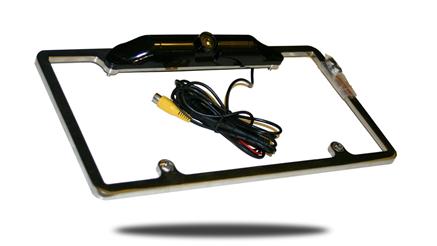 Frontal view of the Wired CCD License plate backup camera with attached frame for cars, trucks, RVs, campers, trailers, and more.
