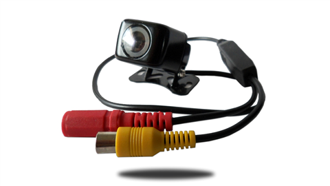 The 170 degree ice cube backup camera with yellow RCA and red DC power plugs. SKU42373