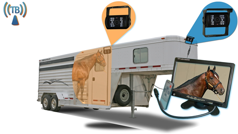 7 Inch Horse Trailer Monitor with 2 Wireless Mounted RV Backup Cameras