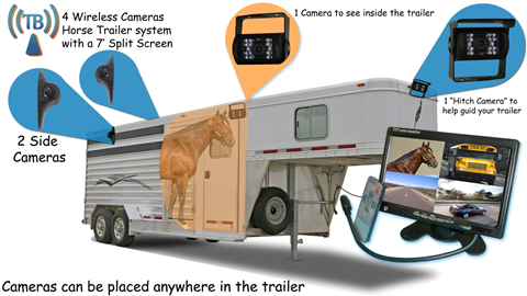10.5 Inch Ultimate Wireless Horse Trailer Backup Camera Surveillance  System