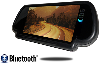 Angled frontal view of 7 inch mirror bluetooth