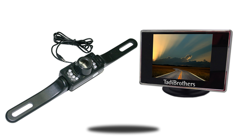 License Plate Backup Camera | 3.5-Inch Monitor | SKU16146