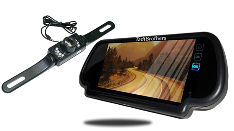 License Plate Backup Camera | 7-Inch Mirror | SKU16342