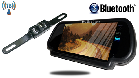 products  bluetooth mirror with wireless license plate backup camera