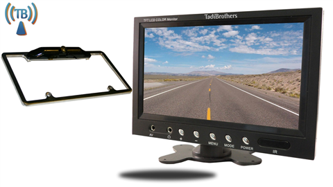 7 inch Monitor with Wireless CCD Black License Plate Frame Backup Camera Great for Sedans and SUVS