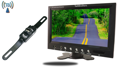 9 inch Monitor with Wireless License Plate Backup Camera Great for SUVS, Cars, and Hooking up a Trailer to your Hitch